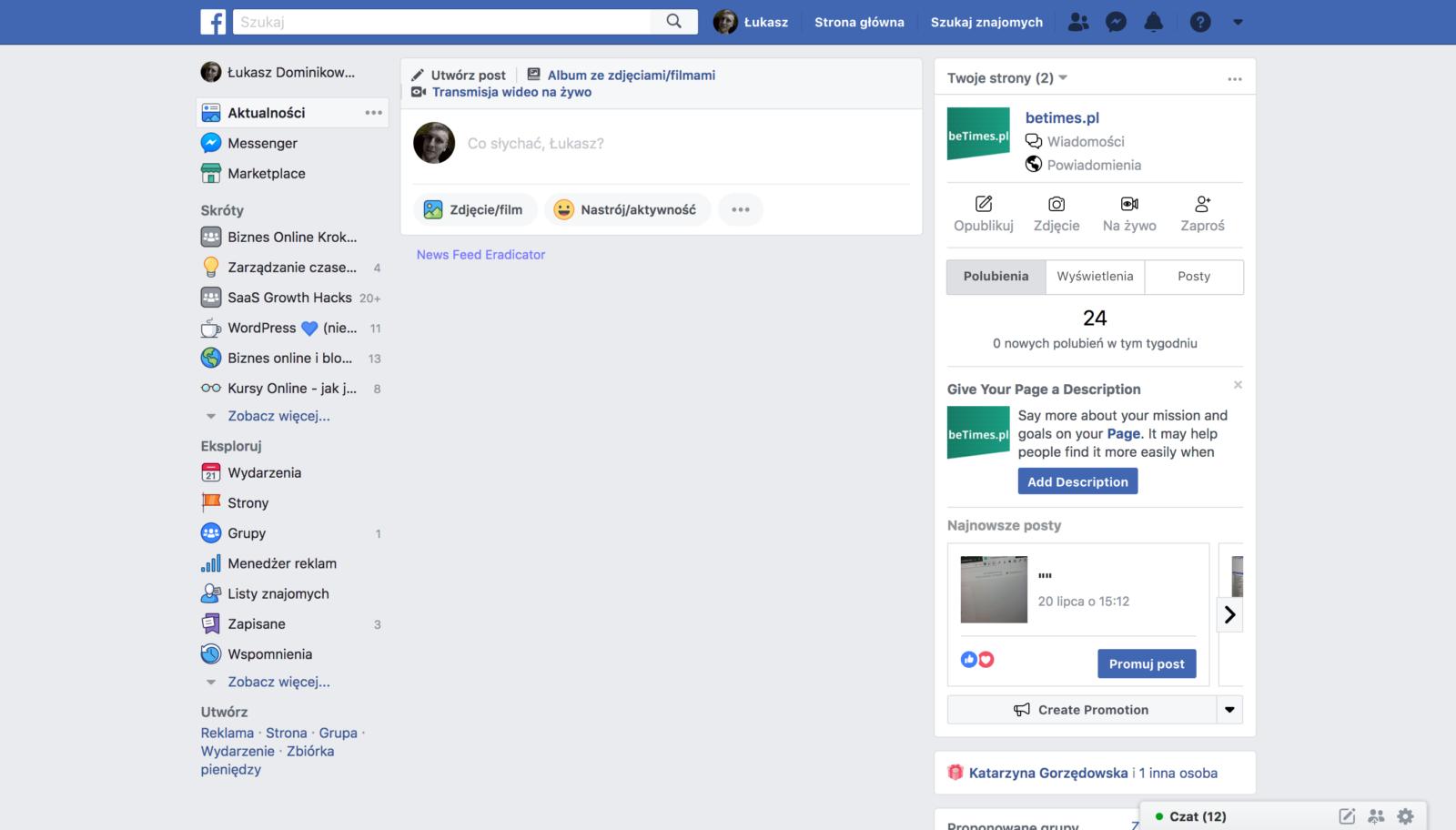 Facebook - wartości z używania