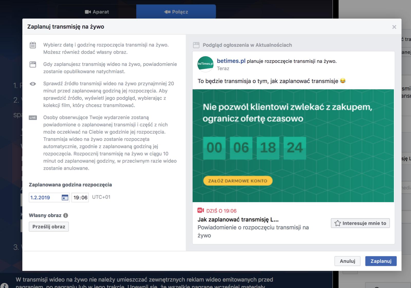 Jak zaplanować transmisję LIVE na Facebooku?
