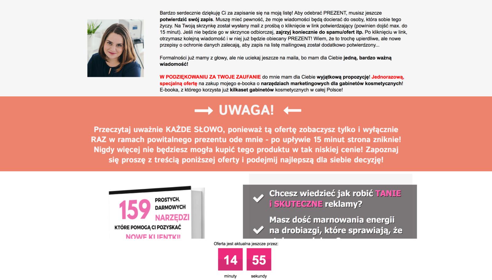 One Time Offer dla branży kosmetycznej - Landing Page